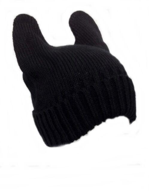 Black Bunny Rabbit Cat Kitty Ear Beanie Cute Winter Soft Warm Fashionable