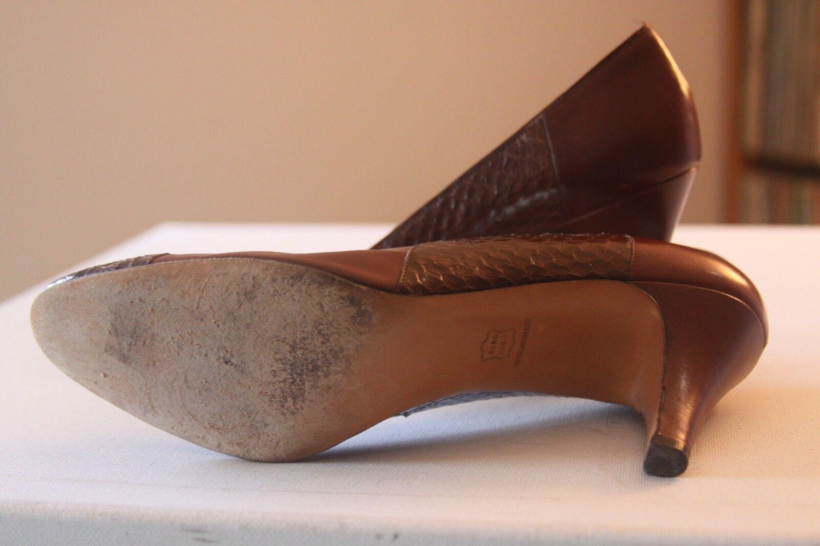 Salvatore Ferragamo Braun Leder Snakeskin 3 Inch Heel Pumps AAAA Größe 7 AAAA Pumps 15c7d4