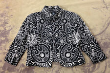 VIVIENNE TAM Black Linen Embroidered Laser Cut Evening Dressy Party Jacket M 8