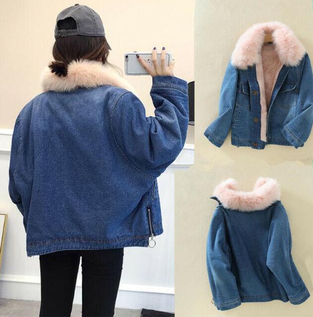 Womens fur liner lining denim jacket thick warm denim jacket coat trench outwear