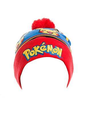 OFFICIAL POKEMON LOGO with PIKACHU AND POKEBALLS POM BEANIE HAT (NEW)