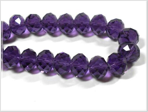 10 perles de verre à facettes ronds 12*8mm violet perles bijoux fabrication