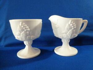 Vintage Indiana Milk Glass Creamer and Sugar Harvest Grape Design # 704