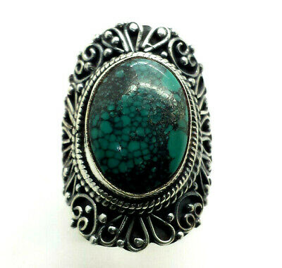 Fine Rings Brilliant Stunning Design Oval Turquoise Sterling Silver 925 Ring 17g Sz.8.5 Han261 Fine Jewelry