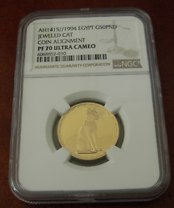 Egypt 1994 Gold 50 Pounds NGC PR70UC Jeweled Cat Coin Alignment