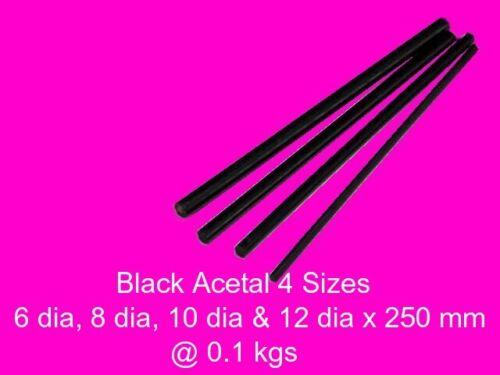 Acetal Black Delrin Combo 4 Sizes x 250 mm-Model Engineering Plastic Steam