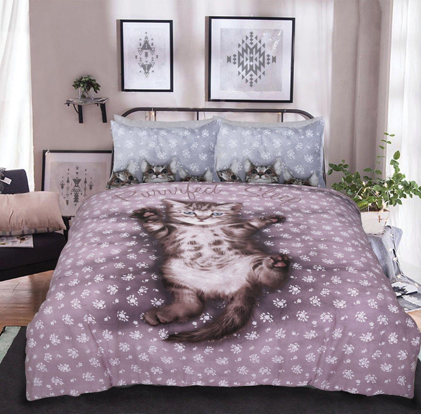 3D Cute Kitten Single Duvet Set Quilt Cover with Pillow Case Bedding Bed vmk