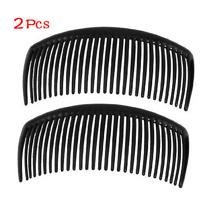 New 2 Pcs Practical Superior Black Plastic Comb Hair Clip Clamp for Ladies PK