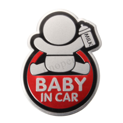 Car Auto 3D Window Aluminum Sticker Baby IN CAR Warning Decal Safety