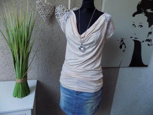 7c 40 Shirt NEU tolle Passform Vivance Wasserfall Spitzen Top rose Gr