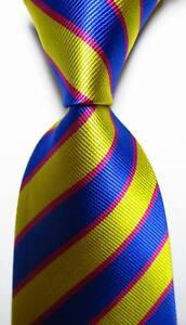 New-Classic-Striped-Blue-Gold-Rose-JACQUARD-WOVEN-100-Silk-Men-039-s-Tie-Necktie