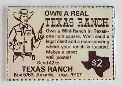 Own a Texas Ranch FRIDGE MAGNET comic book advertisement amarillo