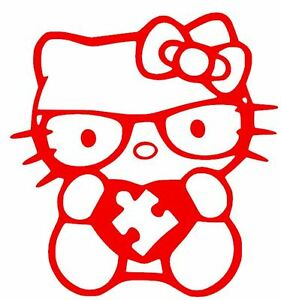 AUTISM DECAL HELLO KITTY HEART AWARENESS CUSTOM Truck Car Vinyl - Hello kitty custom vinyl decals for car