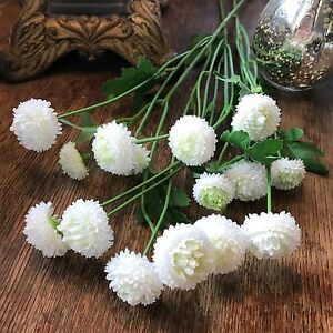 Bunch Of White Artificial Aster Flower Spray Realistic Faux Silk