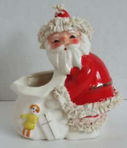 Vintage-Napco-Ceramics-Japan-SPAGHETTI-TRIM-Santa-Claus-Christmas-Red-Figurine