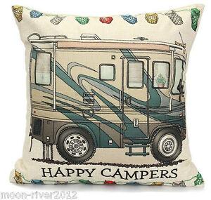 HAPPY-CAMPERS-LINEN-COTTON-Camo-CAMPER-VAN-Motor-Home-CUSHION-COVER-UK-Sale