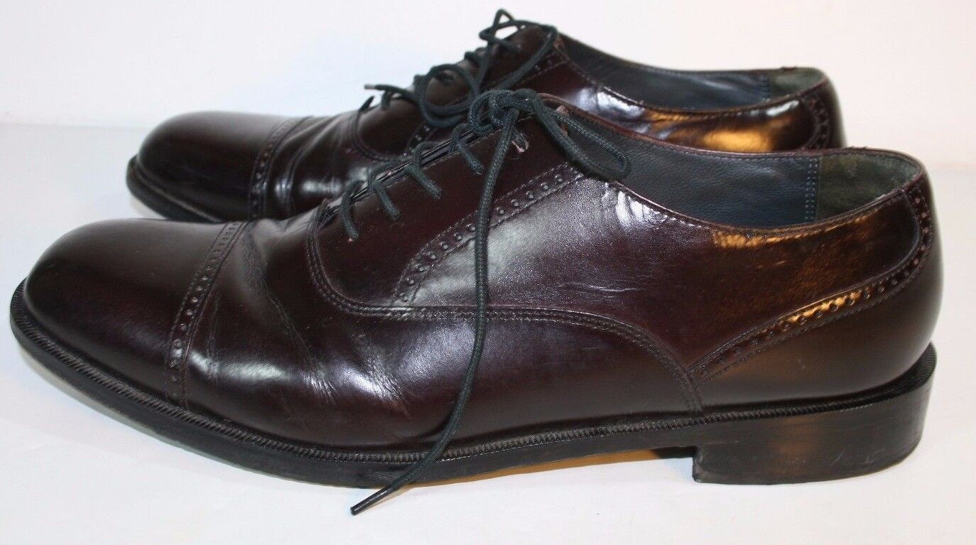 BOSTONIAN CROWN WINDSOR BURGUNDY LEATHER OXFORDS MENS 9.5  D SHOES CAP TOE