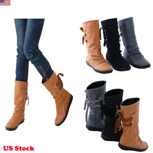 US-Womens-Ladies-Fashion-Lace-Up-Back-Flat-Boots-Shoes-Winter-Round-Toe-Shoes