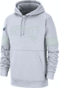 Men-039-s-New-England-Patriots-White-Work-Mark-Pullover-Football-Hooded-Sweatshirt