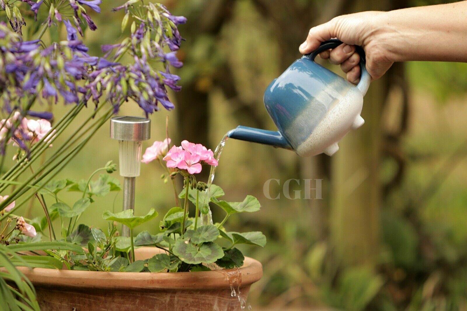 Mini Watering Can Glaze Blue Indoor Mojave - Sass&Belle