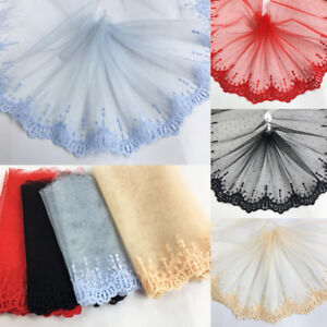 2Yards-Gauze-Embroidered-Lace-Fabric-Edge-Trim-Ribbon-Skirt-Curtain-6-3-039-039-Width