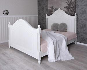 Detalles De Estructura De Cama Matrimonio Antiguo Doble Vintage Shabby Chic Celestial Blanco