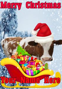 Cow-Santa-Sleigh-nnc156-Xmas-Christmas-Card-A5-Personalised-Greetings-Cards