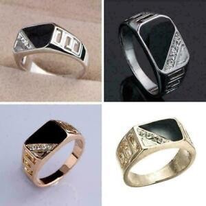 Maenner-Ring-schwarzer-Onyx-Edelstein-Ring-Schmuck-Siegel-Dekor-Ehering-Daum-K4Y5