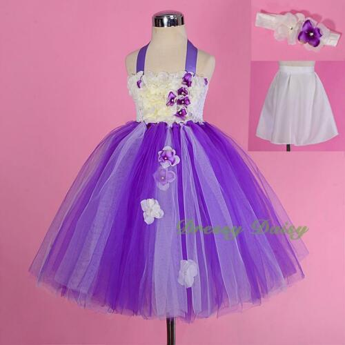 Tulle Embossed Flower Girl Dress Wedding Party Birthday White Kids Size 1-4 #256