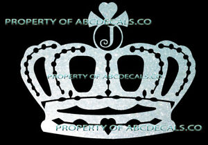 Crown Queen King Princess Twilight Initial J Tiara Car Decal Metal