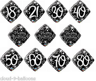 "18"" Diamond Shape Black & Silver Elegant Sparkles & Swirls Birthday Foil Balloon"