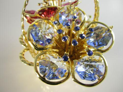 Blumenkorb mit Swarowski Kristallen Bestückt Gold Plattiert Deko