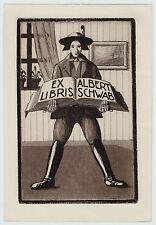 Rare 1923 Lg Bookplate Etching Signed AK - Ex Libris Albert Schwab  Etched Print