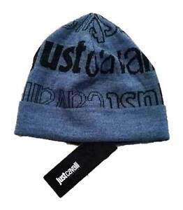 JUST CAVALLI Branded BLUE   BLACK Hat BEANIE Made in Italy - ONE ... ba9242adaa7