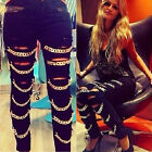 Fashion Women's Ripped with Chains Slim Fit Skinny Denim Jeans Pants Leggings
