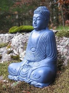 Image Is Loading Buddha Statue Blue Buddha Figure Garden Decor Concrete