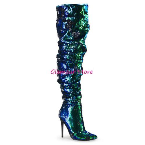 Paillettes Coscia 36 13 Glamour Stivali Verde 44 Scarpe Sexy Tacco Nero Dal Al SxEUTpqw6