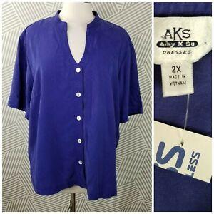AKS-Lyocell-Tencel-Plus-size-2X-18-20-Blue-Button-Front-Shirt-Top-NEW-NWT-Indigo