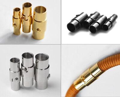 Bajonett Verschluss Tube Silber 2//3//4//5 6mm Schmuck Schnur Ton Magnet Rund
