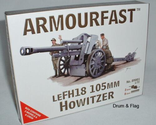 Armourfast 89001 Allemande WW2 LeFH 18 OBUSIER 105 MM WWII Artillery Gun /& Crew 1//72
