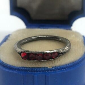 Vintage-Sterling-Silver-Ring-925-Size-5-5-Red-Stones-Antique-Deco-Band