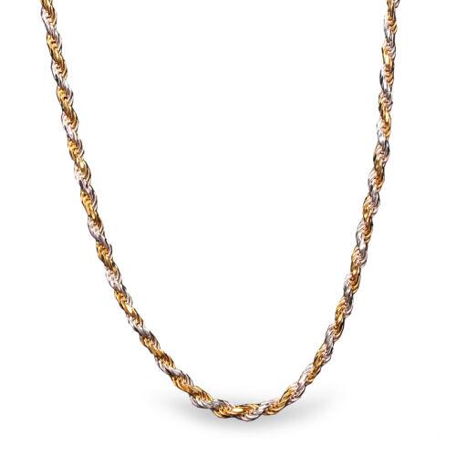 Diamond Cut Rope Sterling Silver Bi-Color Necklace SKU #69354 24 in