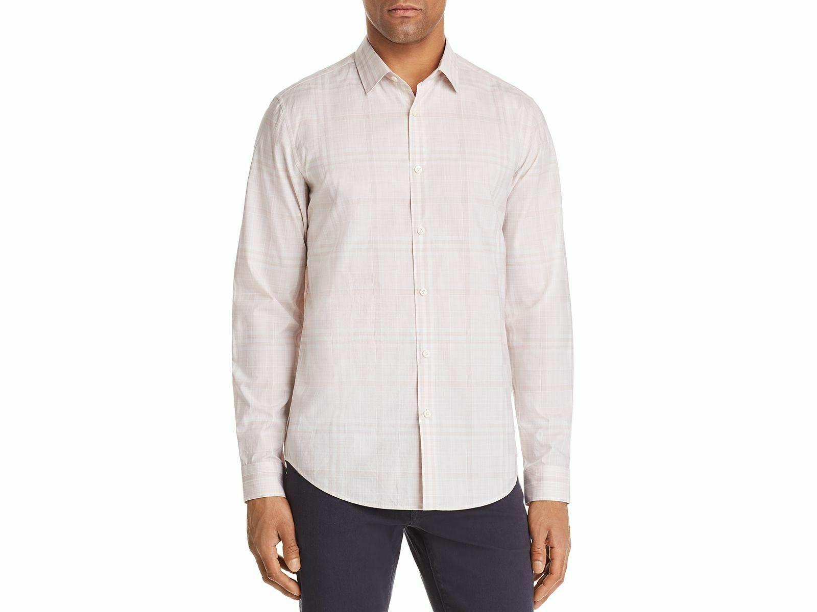 THEORY Men's SLIM-FIT PINK WHITE PLAID LONG-SLEEVE BUTTON TOP SPORT SHIRT L