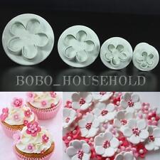4Pcs Plum Blossom Flower Cake Cookies Sugarcraft Decorating Mold Plunger Cutter