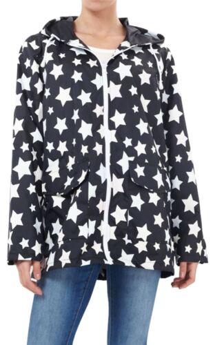 Nouveau Femmes Plus Size All Over Imprimé Étoile Showerproof Mac Veste imperméable 18-24
