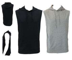 Men-039-s-Sleeveless-Hoodie-Top-w-Pockets-Hooded-Gym-Muscle-Top-Vest-Hoody-Cotton