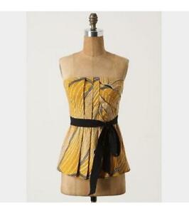 85aebf1375 Image is loading Anthropologie-Floreat-Yellow-Creased-Swirls-Strapless- Corset-Top-