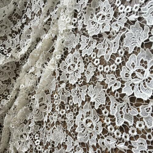 Ivory Guipure Flower Fabric Soft Bridal Dress By the yard Lace Fabric 51/'/'