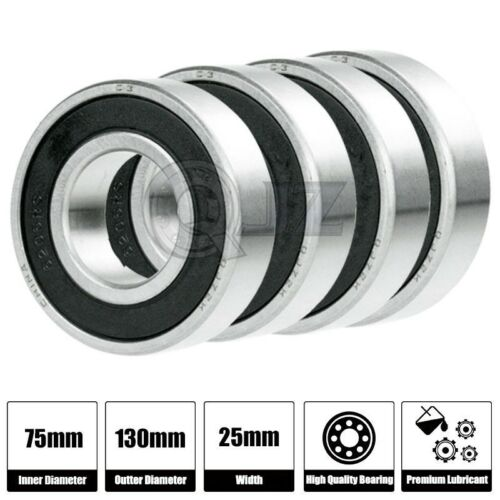 4x 6215-2RS Ball Bearing 75mm x 130mm x 25mm Rubber Seal Premium RS 2RS NEW