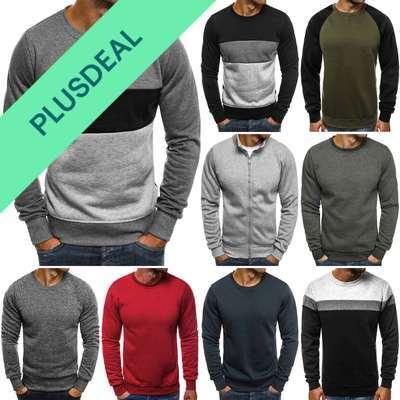 Sweatshirt Langarmshirt Pullover Unifarben Classic Sweatjacke Herren MIX OZONEE
